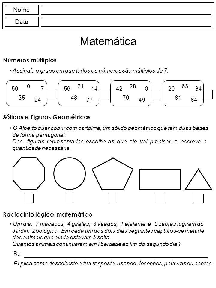 Matemática Nome Data Números múltiplos Sólidos e Figuras Geométricas