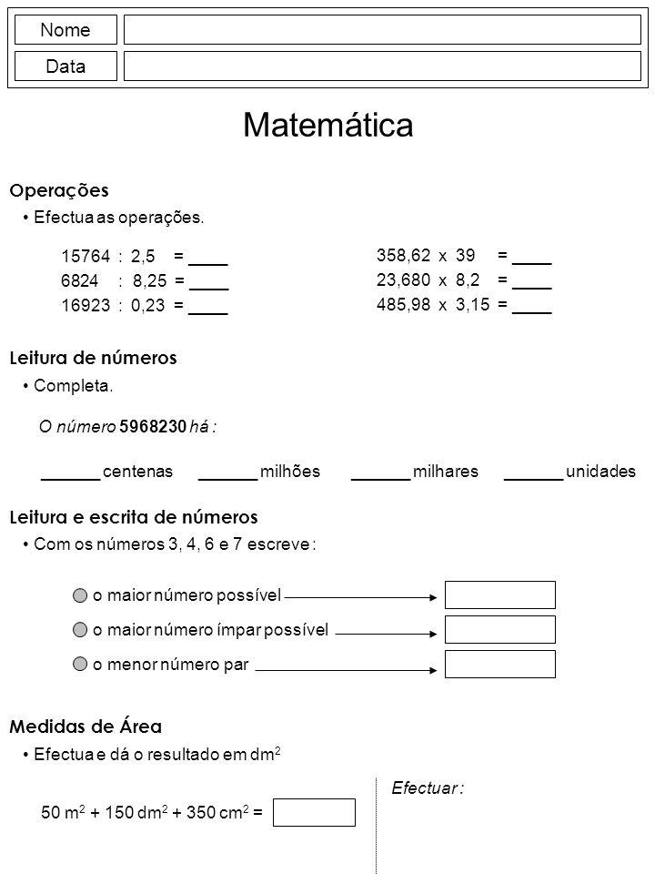 Matemática Nome Data Operações Leitura de números