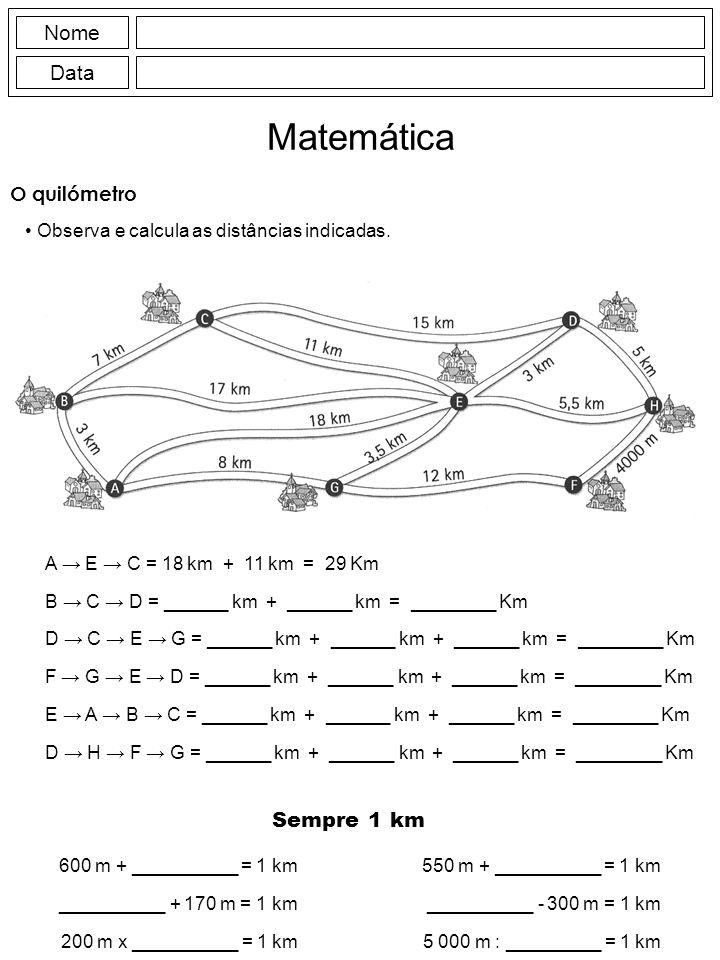 Matemática Nome Data Sempre 1 km O quilómetro