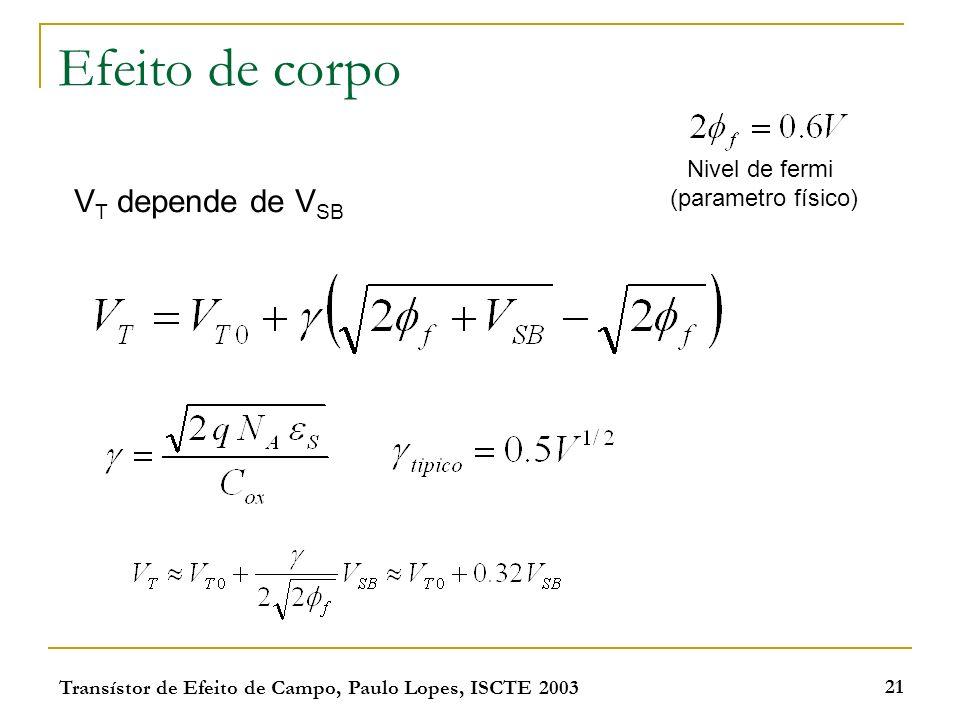 Efeito de corpo VT depende de VSB Nivel de fermi (parametro físico)