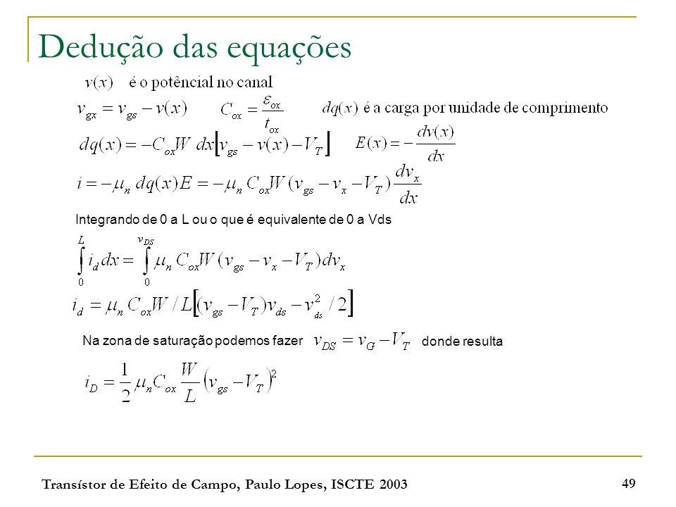 Dedução das equações Integrando de 0 a L ou o que é equivalente de 0 a Vds. Na zona de saturação podemos fazer.