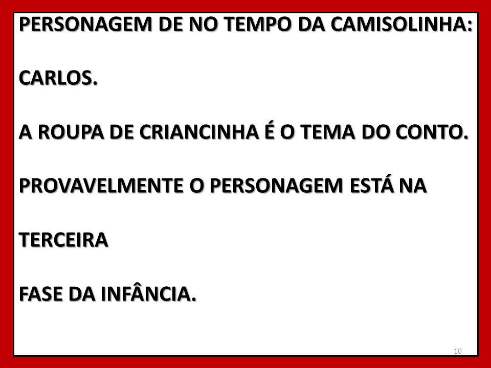 PERSONAGEM DE NO TEMPO DA CAMISOLINHA: CARLOS
