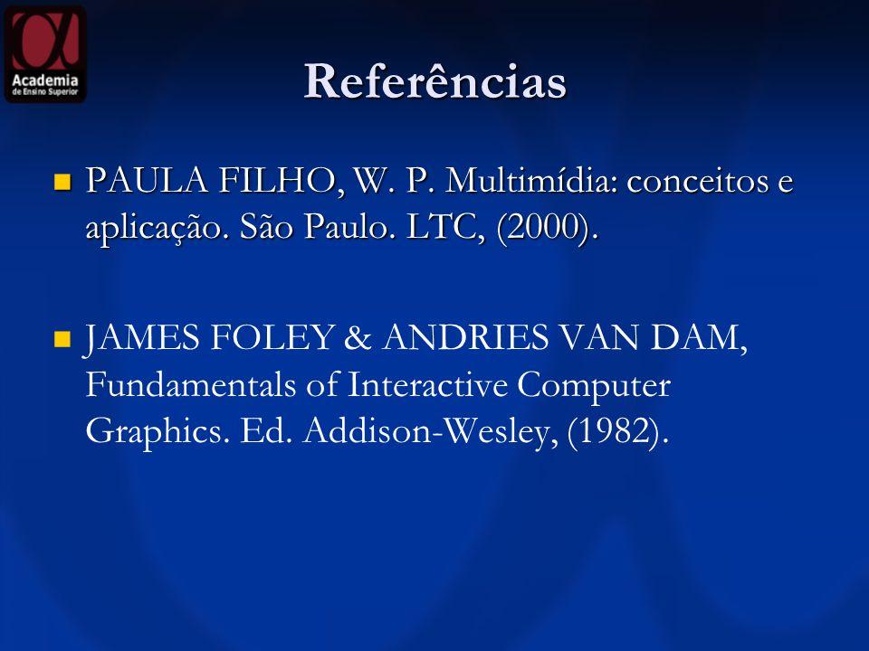 Referências PAULA FILHO, W. P. Multimídia: conceitos e aplicação. São Paulo. LTC, (2000).