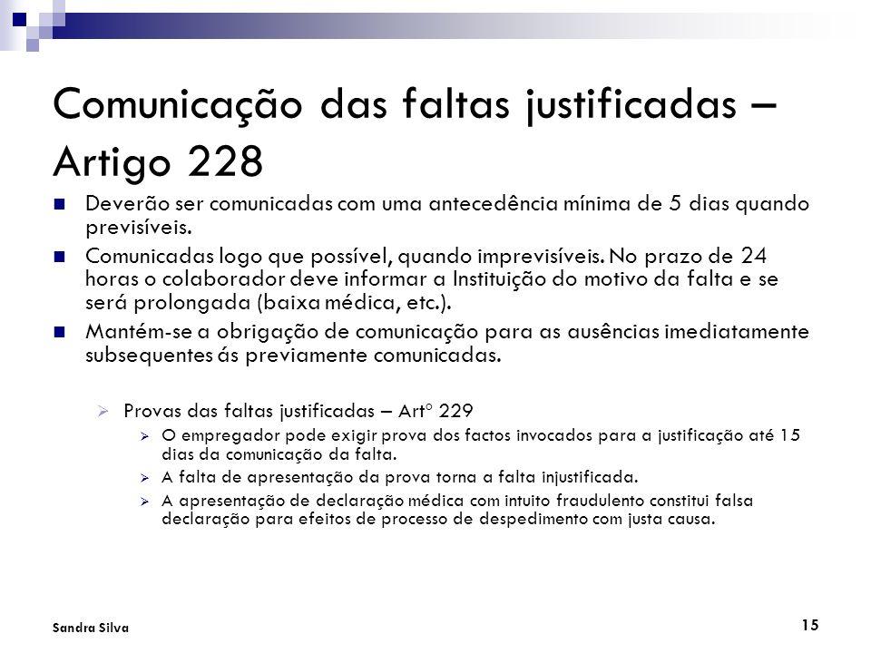 Comunicação das faltas justificadas – Artigo 228