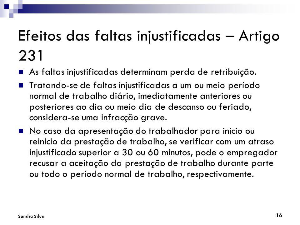 Efeitos das faltas injustificadas – Artigo 231