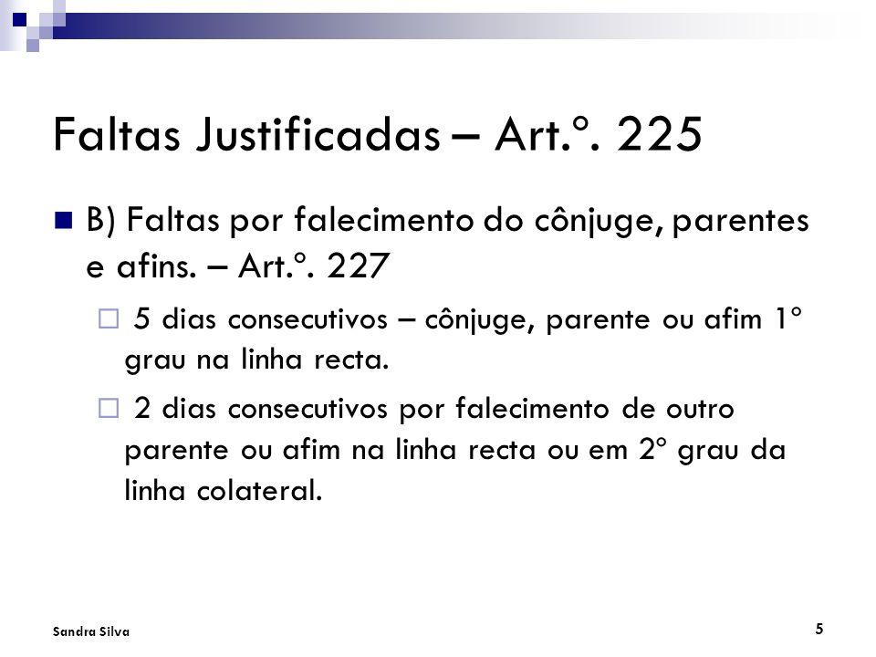 Faltas Justificadas – Art.º. 225