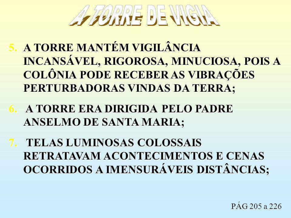 A TORRE DE VIGIA A TORRE MANTÉM VIGILÂNCIA INCANSÁVEL, RIGOROSA, MINUCIOSA, POIS A COLÔNIA PODE RECEBER AS VIBRAÇÕES PERTURBADORAS VINDAS DA TERRA;