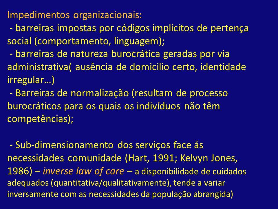 Impedimentos organizacionais: