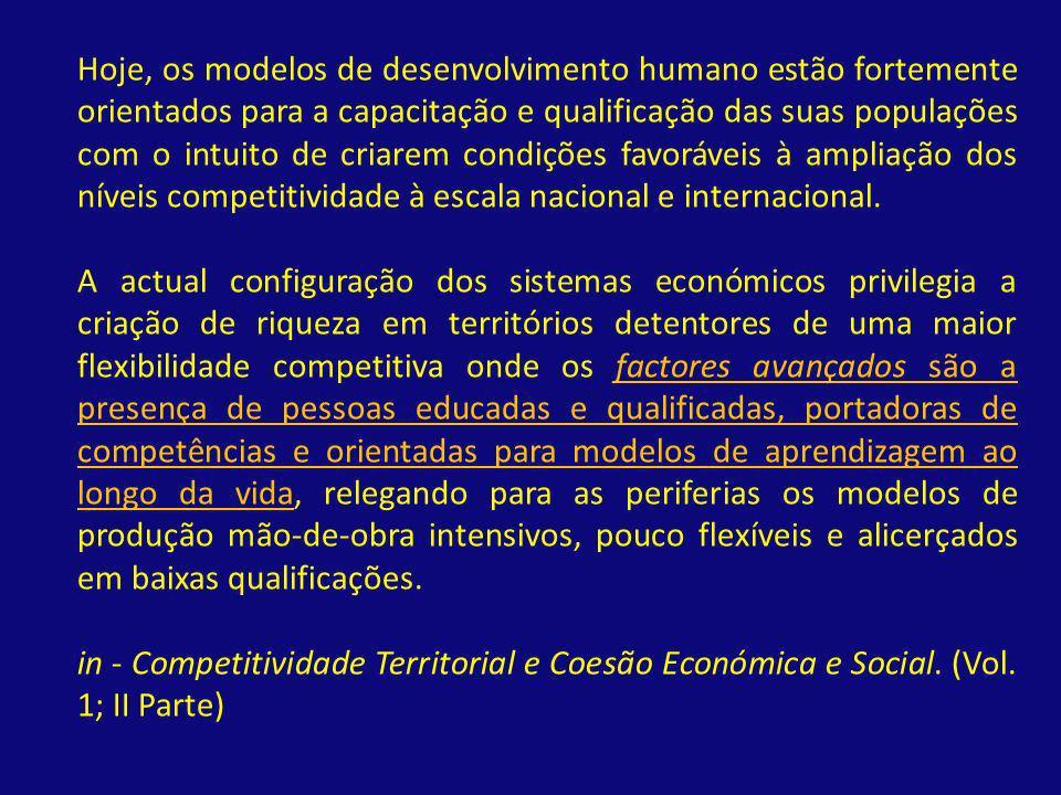 Hoje, os modelos de desenvolvimento humano estão fortemente orientados para a capacitação e qualificação das suas populações com o intuito de criarem condições favoráveis à ampliação dos níveis competitividade à escala nacional e internacional.