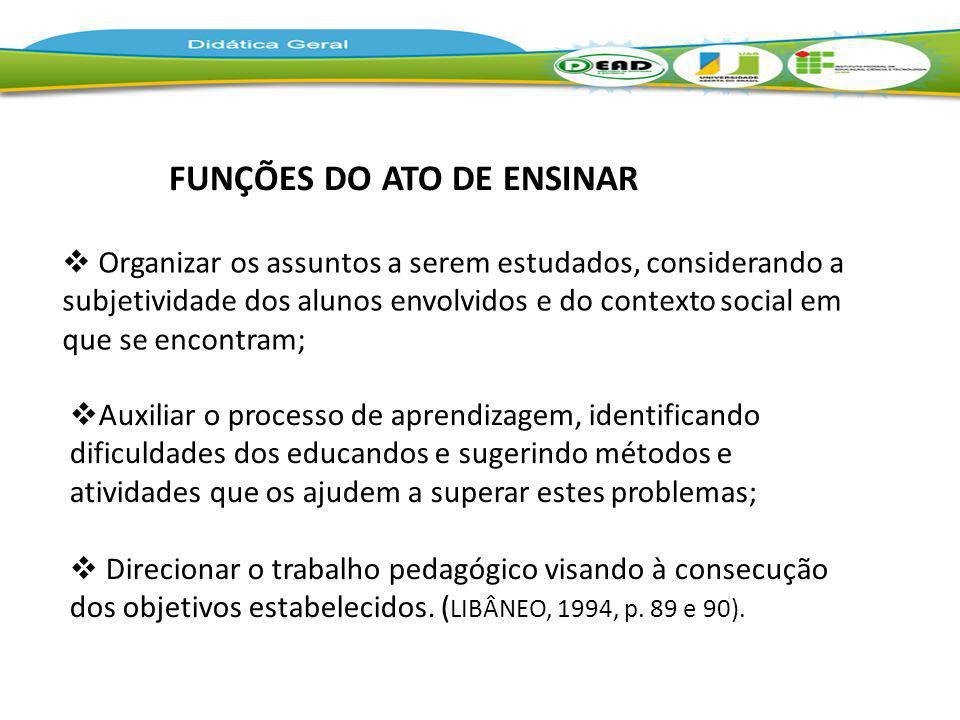 FUNÇÕES DO ATO DE ENSINAR