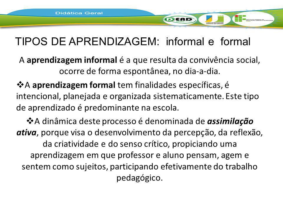 TIPOS DE APRENDIZAGEM: informal e formal
