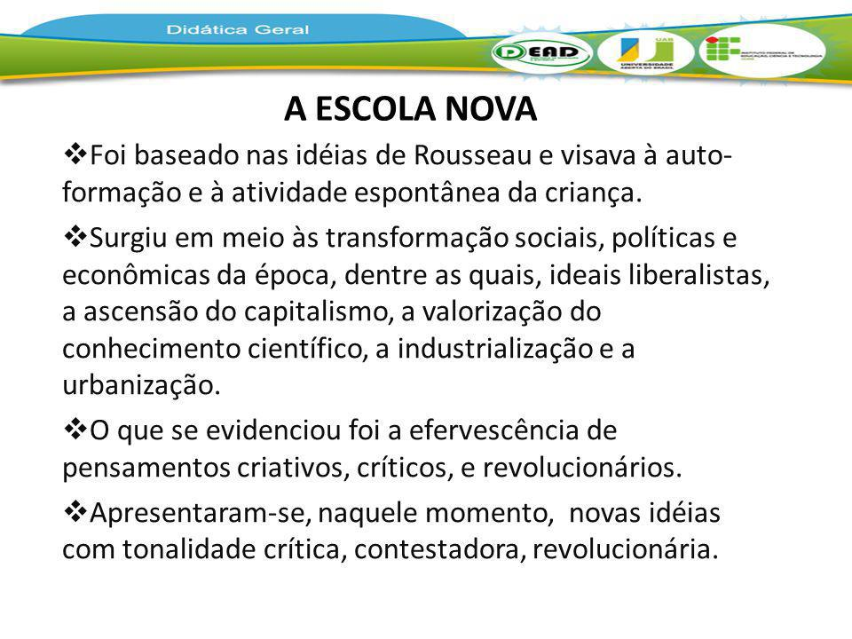 A ESCOLA NOVA Foi baseado nas idéias de Rousseau e visava à auto- formação e à atividade espontânea da criança.