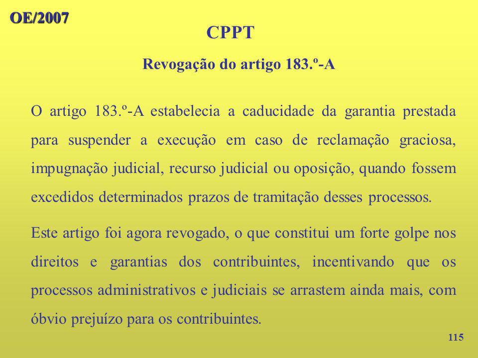 Revogação do artigo 183.º-A