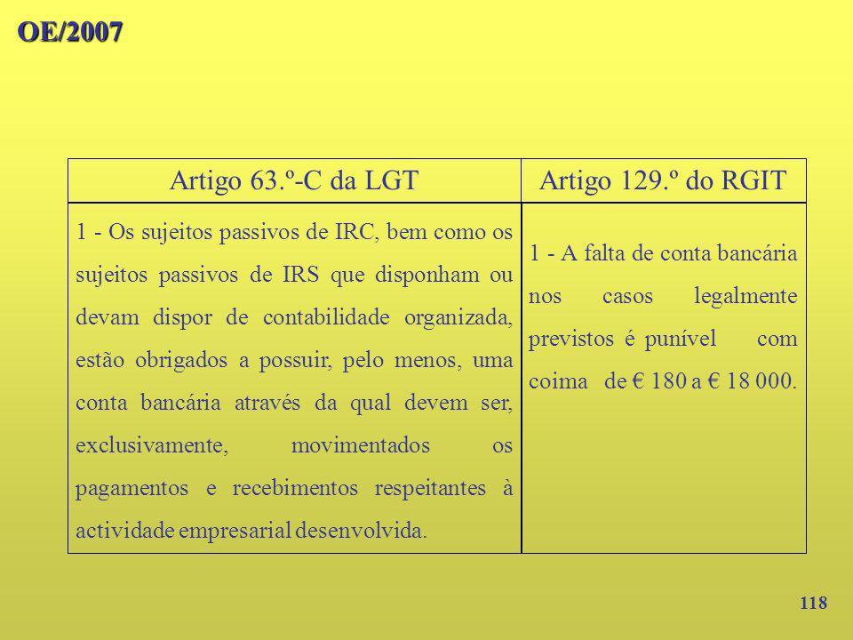 OE/2007 Artigo 63.º-C da LGT Artigo 129.º do RGIT