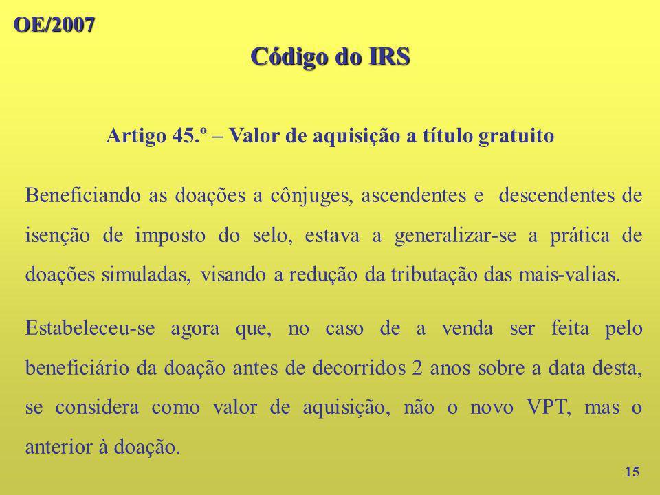 Artigo 45.º – Valor de aquisição a título gratuito