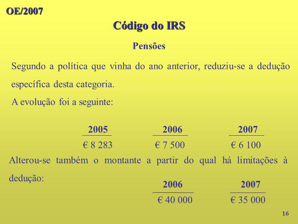 Código do IRS OE/2007 Pensões