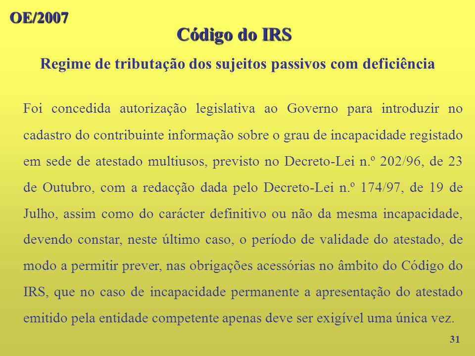 Regime de tributação dos sujeitos passivos com deficiência
