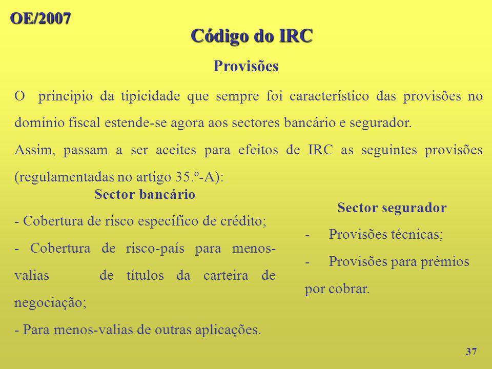 Código do IRC OE/2007 Provisões