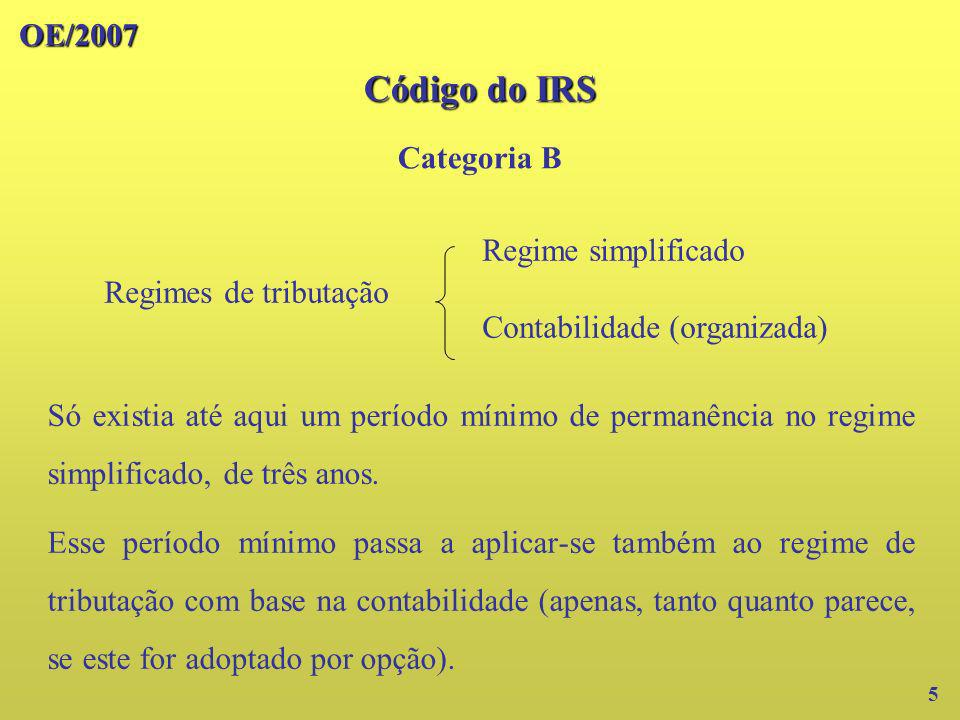 Código do IRS OE/2007 Categoria B Regime simplificado