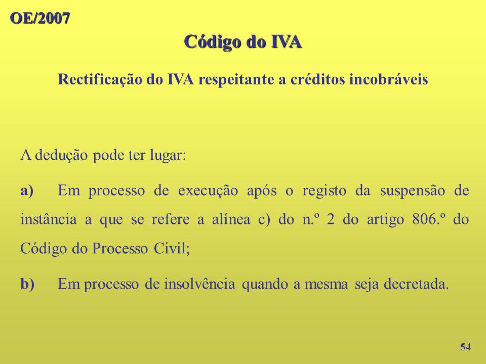 Rectificação do IVA respeitante a créditos incobráveis