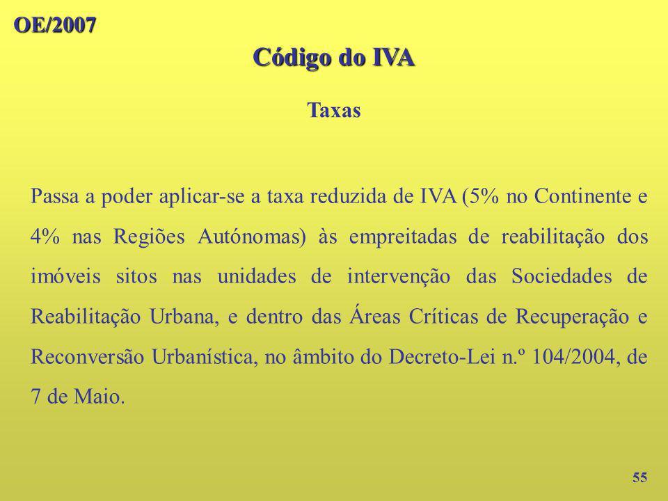 OE/2007 Código do IVA. Taxas.