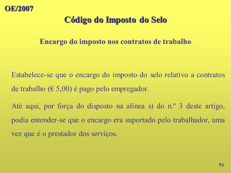 Código do Imposto do Selo Encargo do imposto nos contratos de trabalho