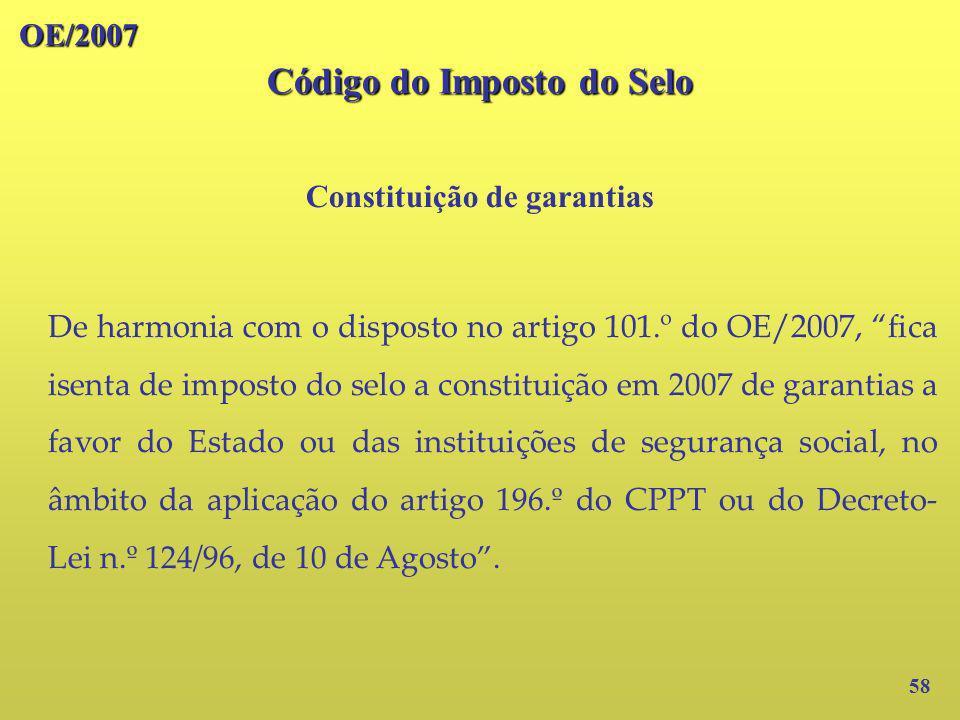 Código do Imposto do Selo Constituição de garantias