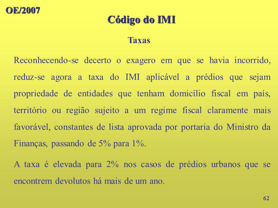 OE/2007 Código do IMI. Taxas.
