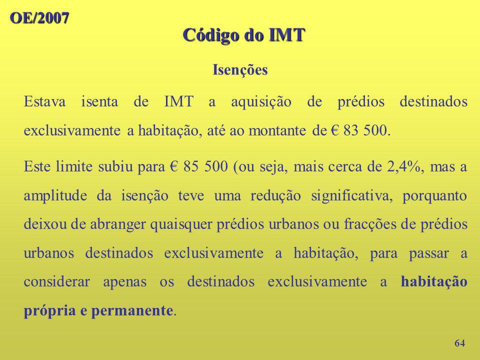 Código do IMT OE/2007 Isenções