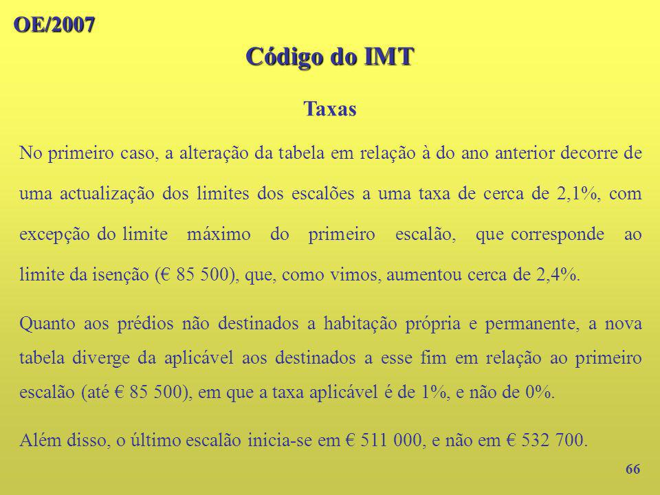 OE/2007 Código do IMT. Taxas.
