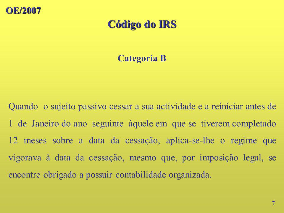 Código do IRS OE/2007 Categoria B