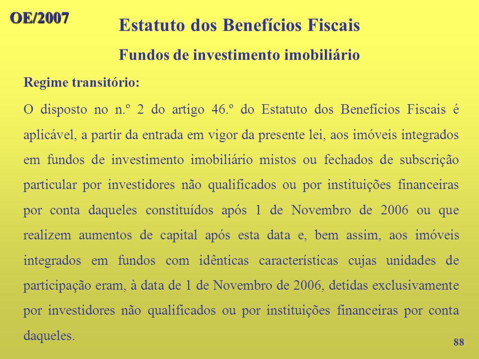 Estatuto dos Benefícios Fiscais Fundos de investimento imobiliário