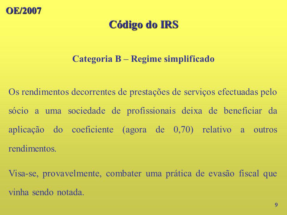 Categoria B – Regime simplificado