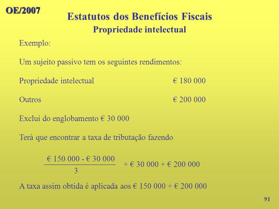 Estatutos dos Benefícios Fiscais Propriedade intelectual