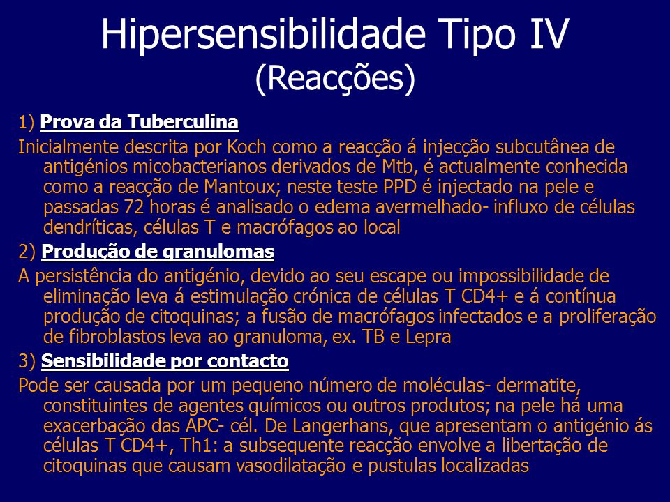 Hipersensibilidade Tipo IV (Reacções)