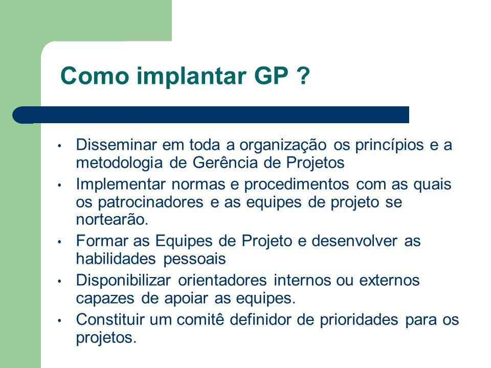 Como implantar GP Disseminar em toda a organização os princípios e a metodologia de Gerência de Projetos.