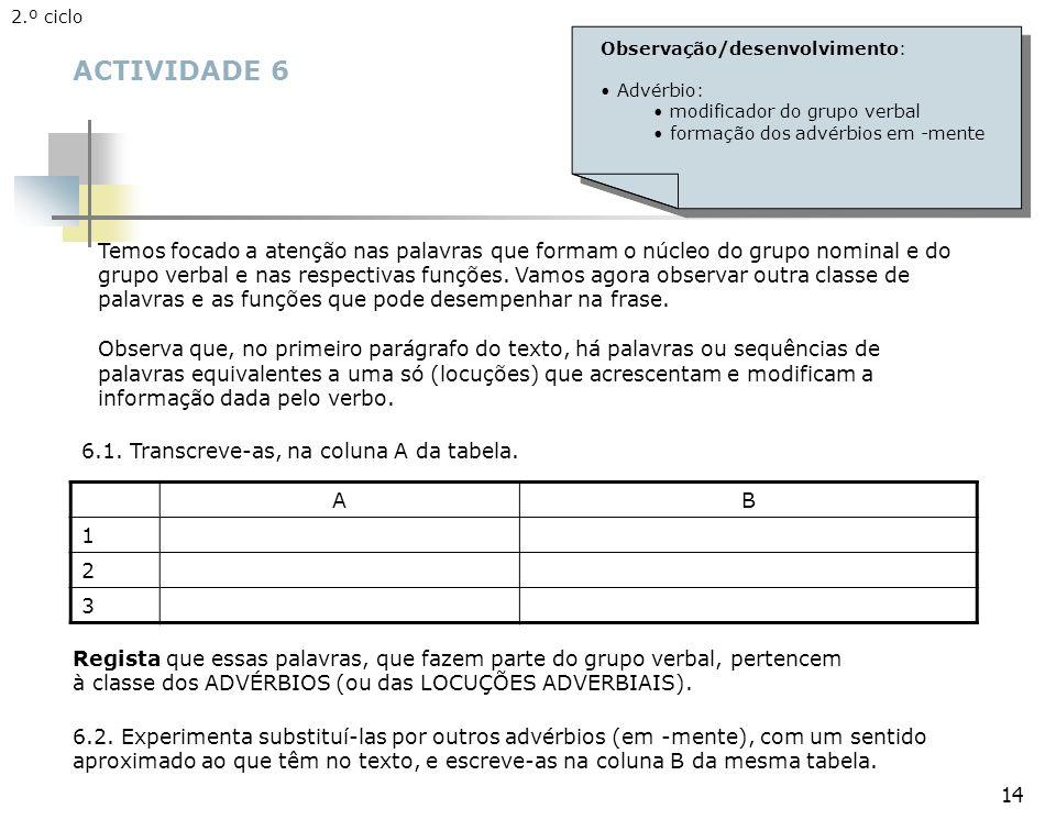 2.º ciclo Observação/desenvolvimento: Advérbio: modificador do grupo verbal. formação dos advérbios em -mente.