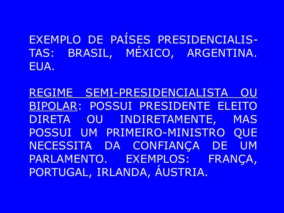 EXEMPLO DE PAÍSES PRESIDENCIALIS-TAS: BRASIL, MÉXICO, ARGENTINA. EUA.