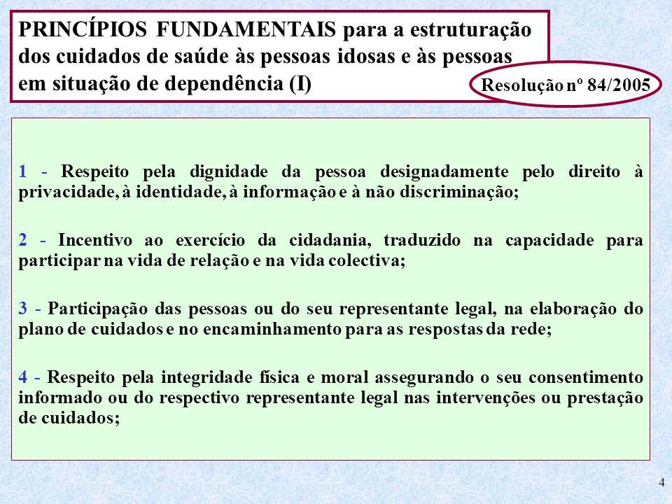 PRINCÍPIOS FUNDAMENTAIS para a estruturação dos cuidados de saúde às pessoas idosas e às pessoas em situação de dependência (I)