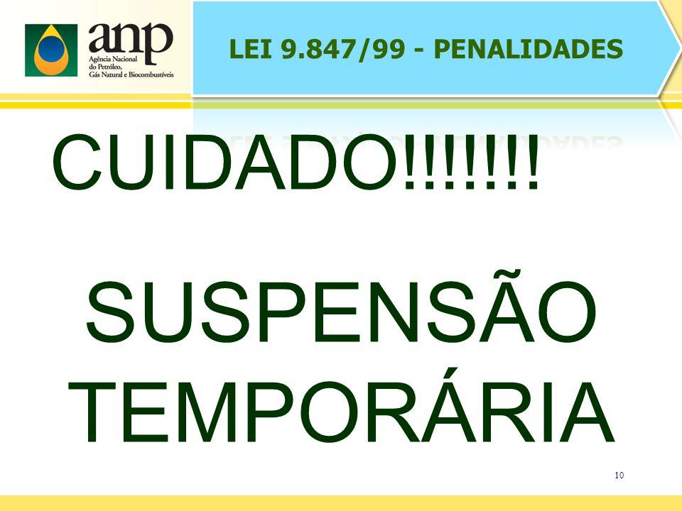 LEI 9.847/99 - PENALIDADES CUIDADO!!!!!!! SUSPENSÃO TEMPORÁRIA