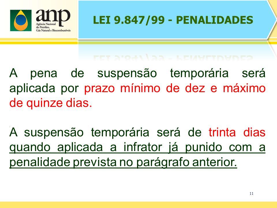 LEI 9.847/99 - PENALIDADES A pena de suspensão temporária será aplicada por prazo mínimo de dez e máximo de quinze dias.