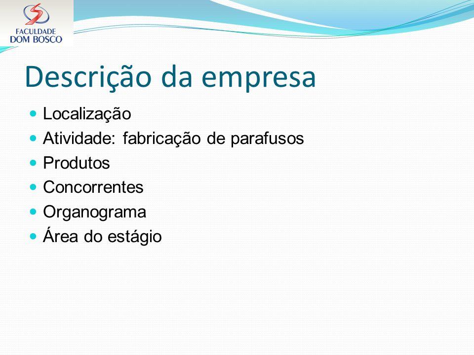 Descrição da empresa Localização Atividade: fabricação de parafusos