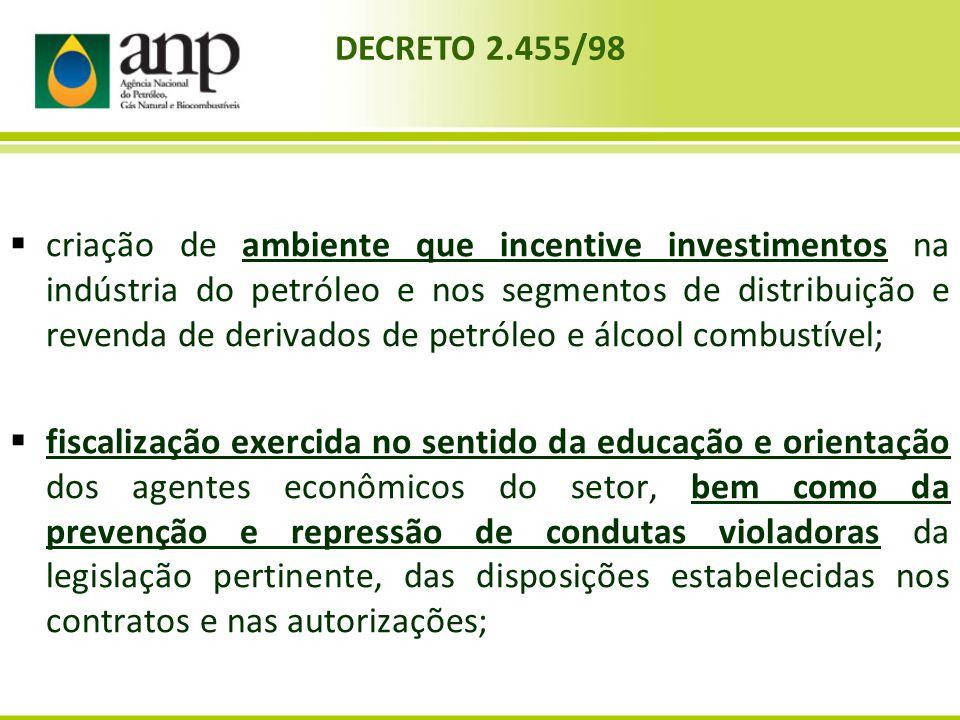 criação de ambiente que incentive investimentos na indústria do petróleo e nos segmentos de distribuição e revenda de derivados de petróleo e álcool combustível;
