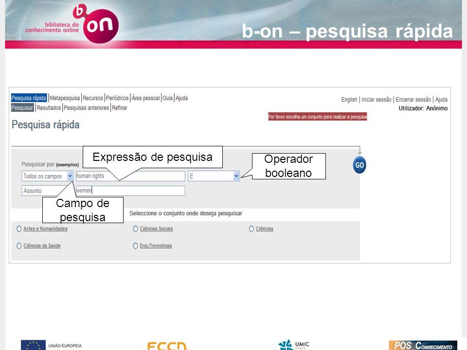 b-on – pesquisa rápida Expressão de pesquisa Operador booleano