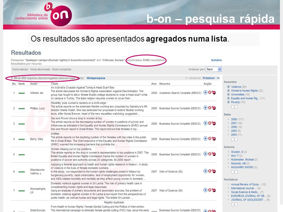b-on – pesquisa rápida Os resultados são apresentados agregados numa lista.