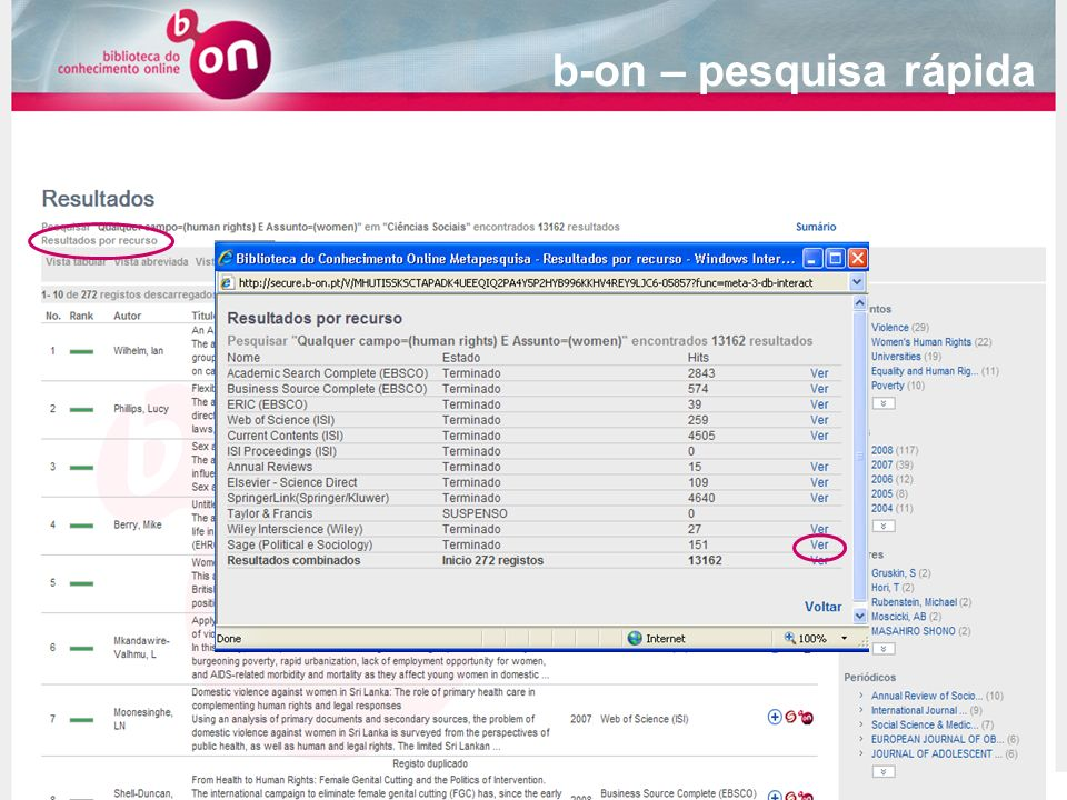 b-on – pesquisa rápida