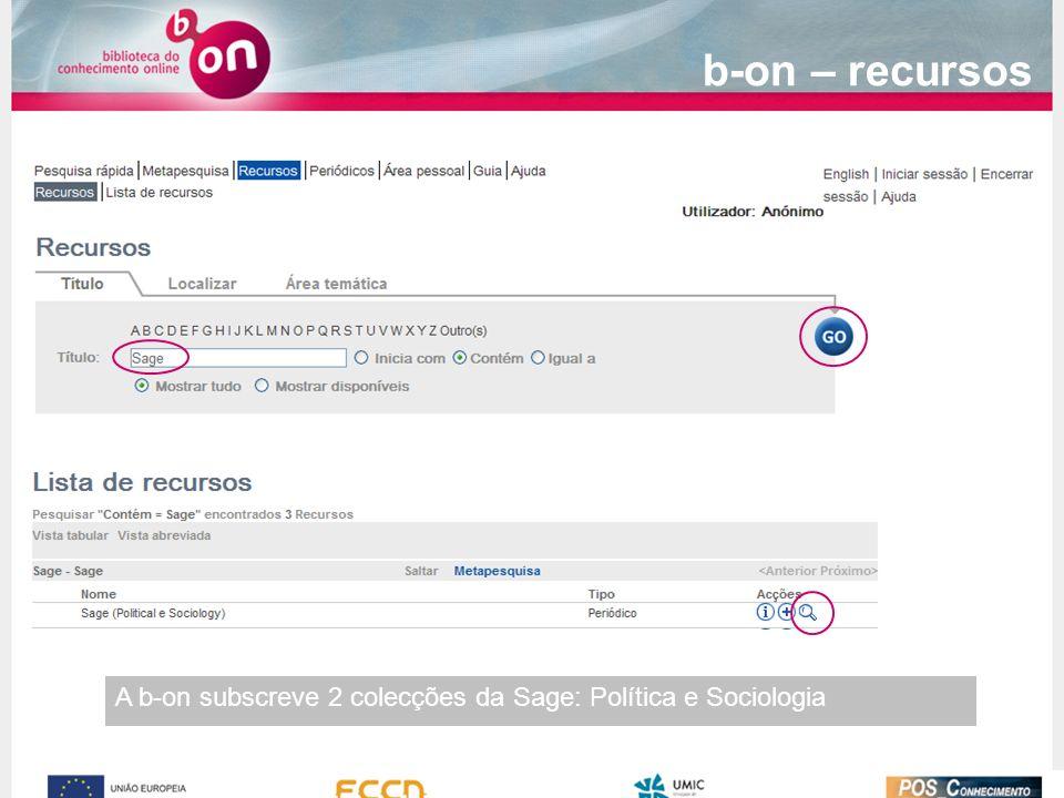 b-on – recursos A b-on subscreve 2 colecções da Sage: Política e Sociologia
