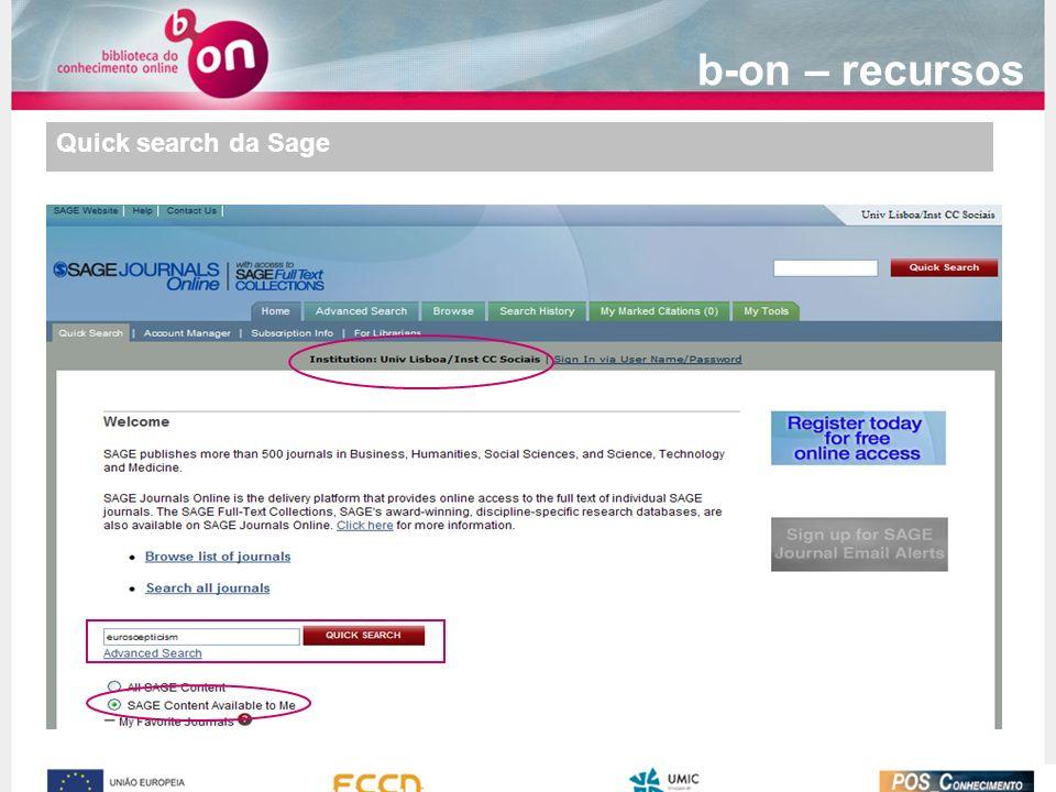 b-on – recursos Quick search da Sage