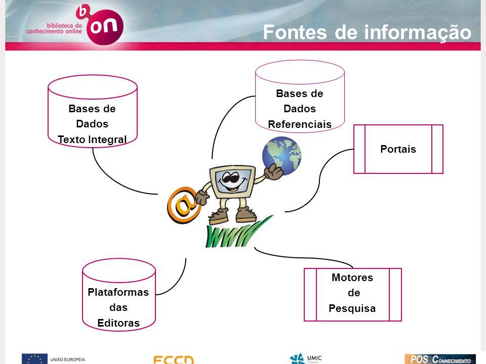 Fontes de informação Bases de Dados Bases de Referenciais Dados