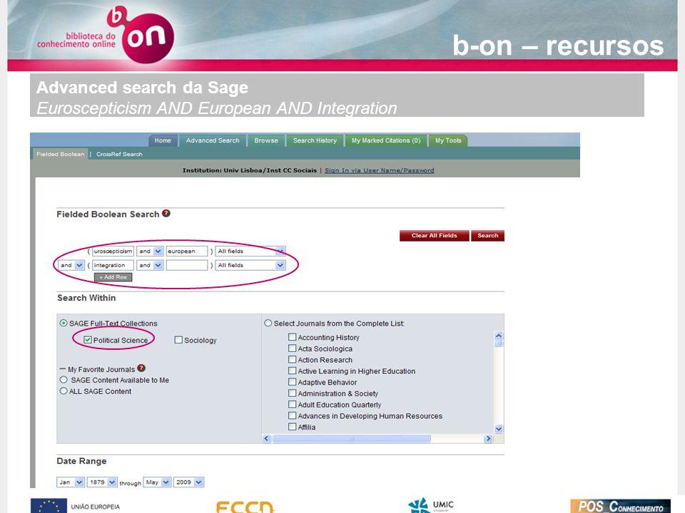 b-on – recursos Advanced search da Sage